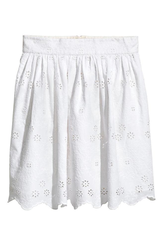 b08af0a8a93104 Katoenen rok met borduursel - Wit - DAMES