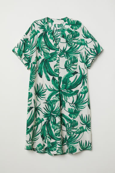 V-neck dress - White/Leaf-patterned - Ladies | H&M CN