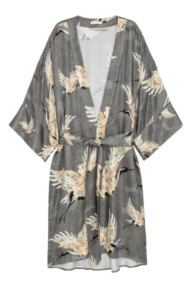 Patterned kimono - Grey/Birds - Ladies | H&M