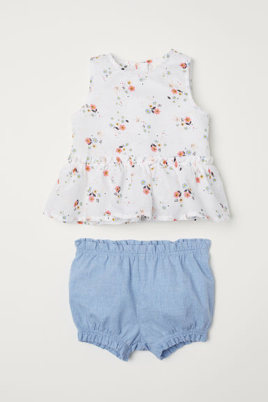 Flounced blouse and puff pants - Light blue/Floral -  | H&M