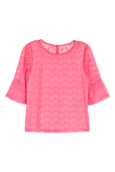 Flounce-sleeved lace top - Pink - Kids | H&M CN
