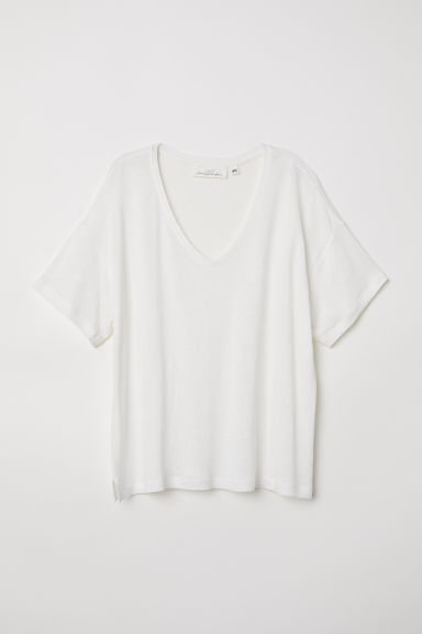 V-neck linen-blend T-shirt - Natural white - Ladies | H&M