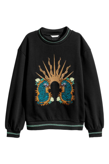 Embroidered sweatshirt - Black/Tigers -  | H&M