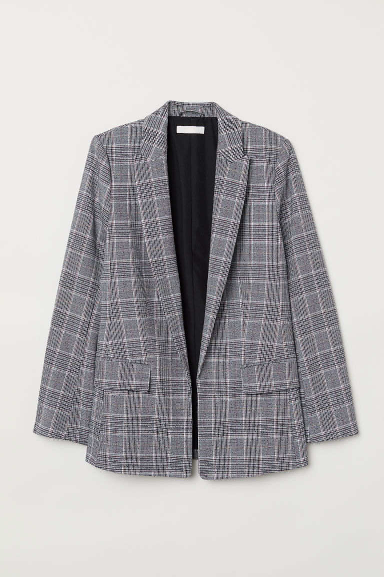 Straight-cut jacket - Grey/Checked - Ladies | H&M GB