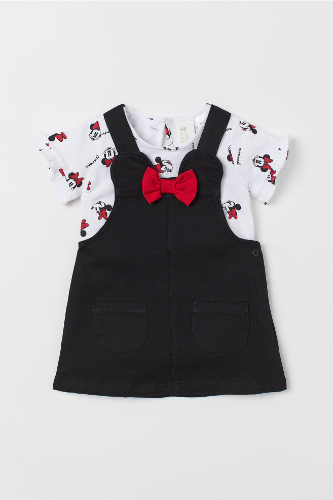 5e0b4c6f Dungaree dress and top - Black/Minnie Mouse - | H&M ...