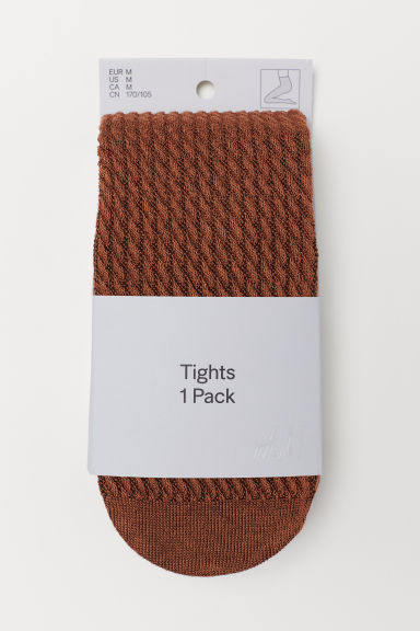 Textured-knit tights - Brown -  | H&M CN