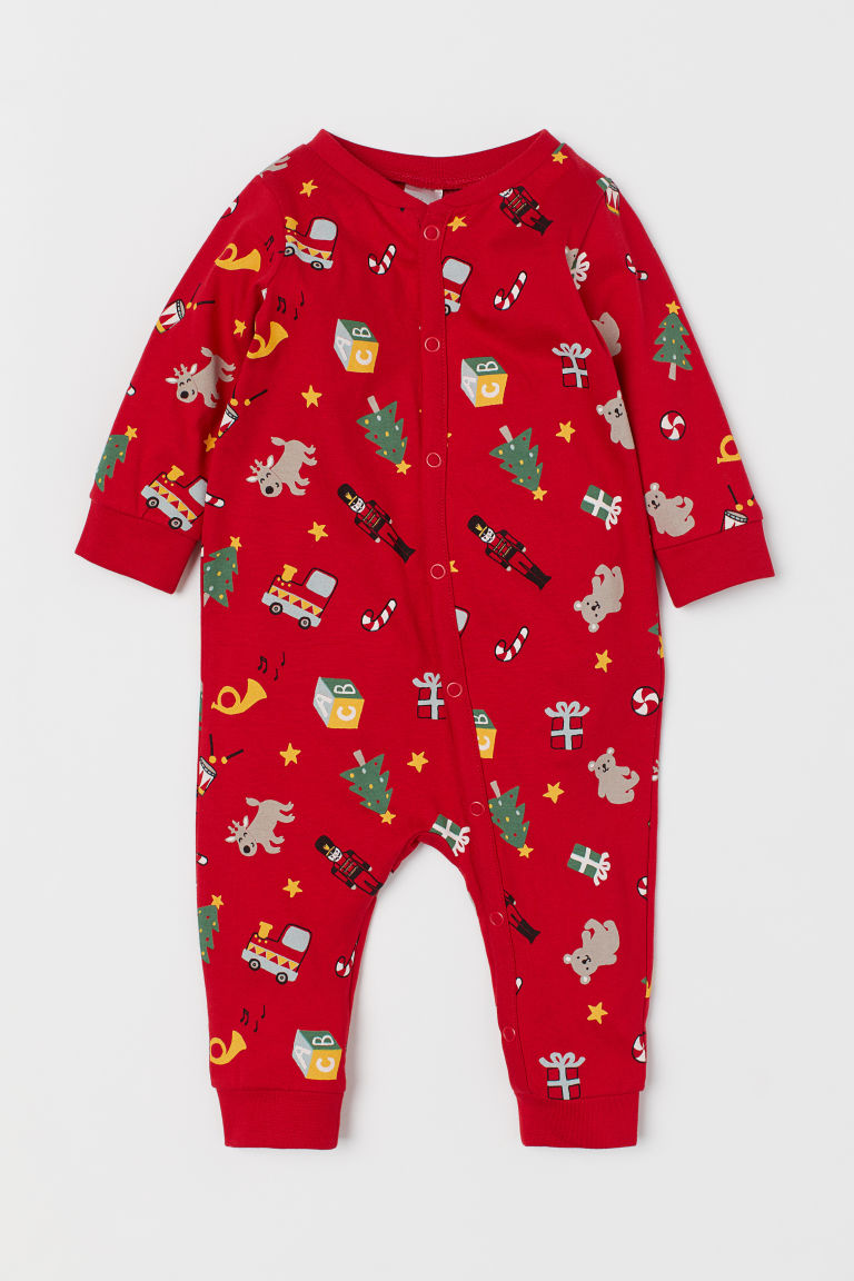 All-in-one jersey pyjamas - Red/Patterned -  | H&M GB