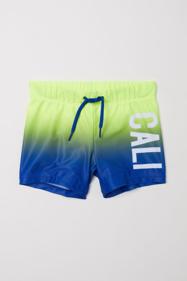 Patterned swimming trunks - Blue/Yellow -  | H&M