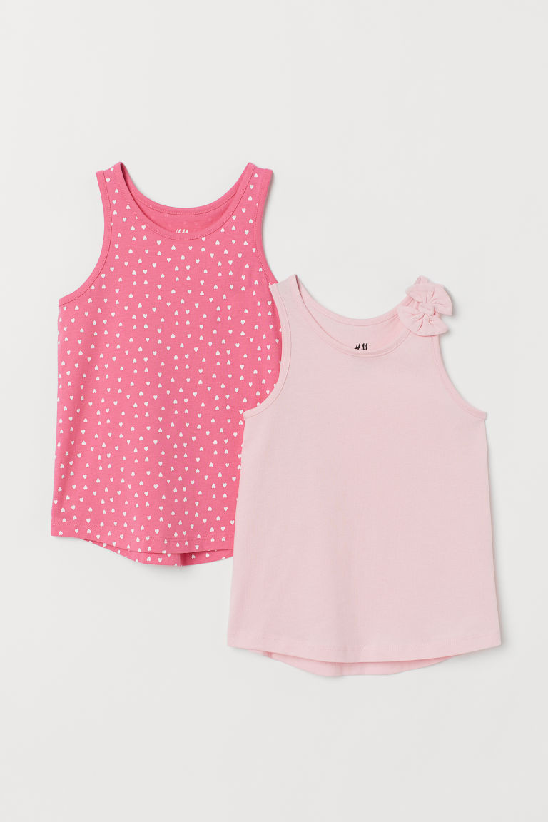 2-pack vest tops - Pink/Hearts - Kids | H&M CN