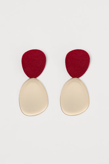 Large earrings - Burgundy/Gold-coloured - Ladies | H&M