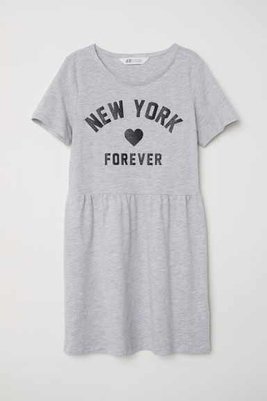 Jersey dress - Grey marl/New York Forever - Kids | H&M
