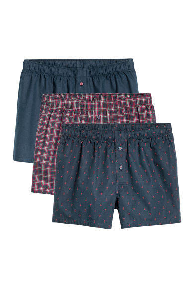Set van 3 geweven boxershorts - Donkerblauw/geruit - HEREN | H&M BE