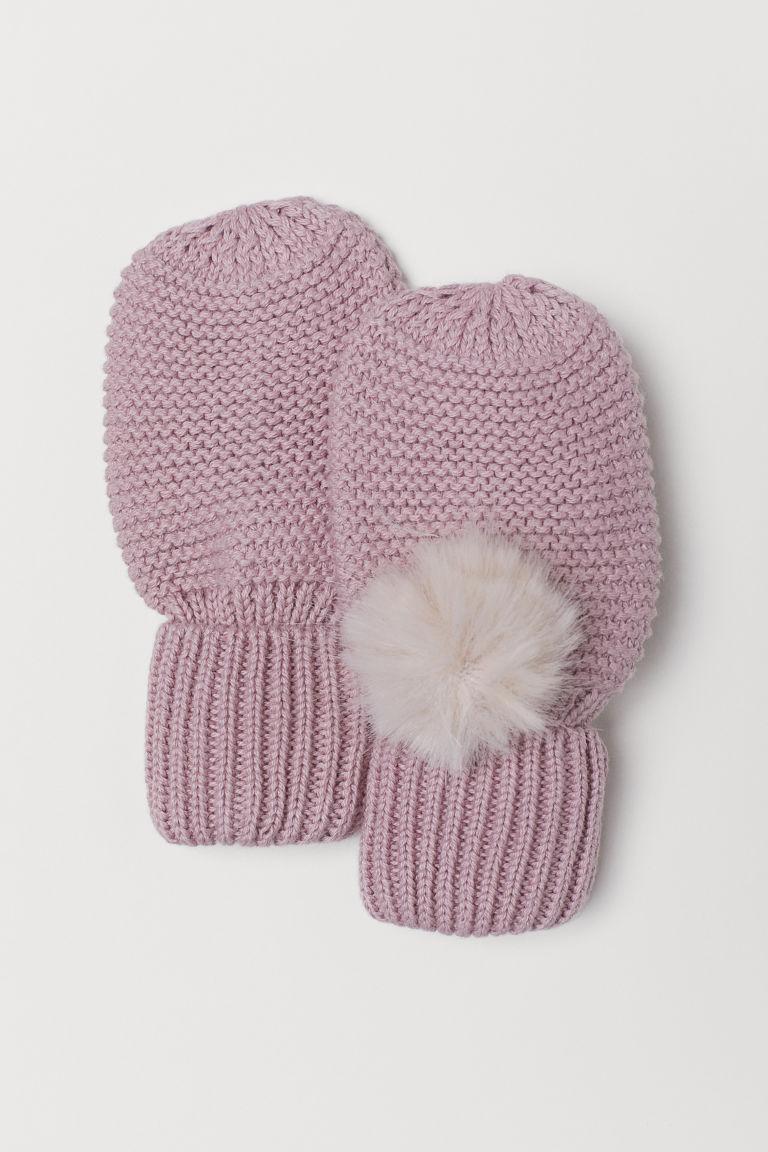 Mittens with Pompoms - Light pink - Kids | H&M US 1