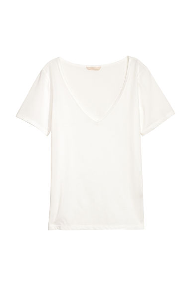 V-neck cotton top - White -  | H&M
