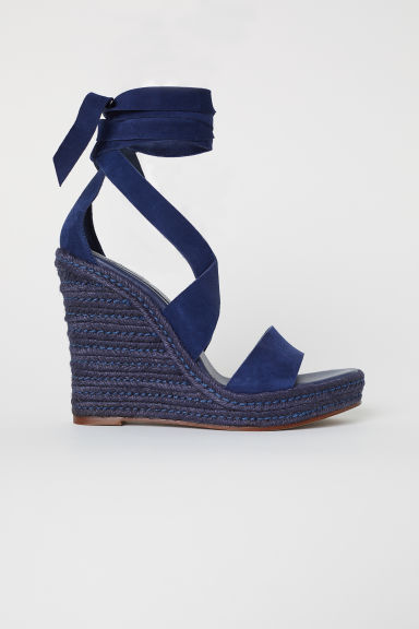 Suede Wedge-heel Sandals - Dark blue - Ladies | H&M US