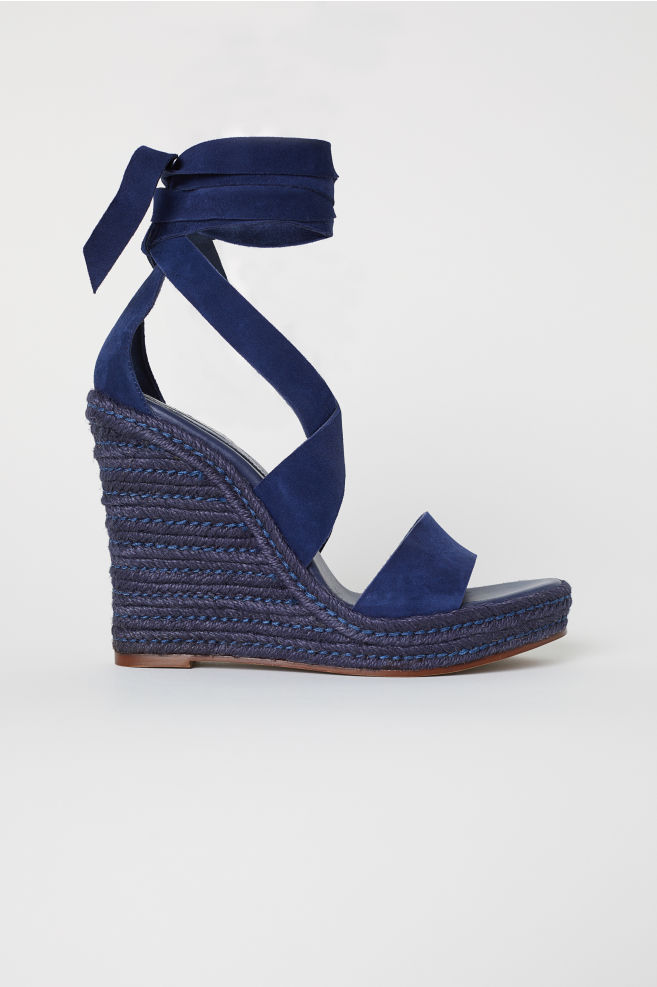 a615a1dfd66 Suede Wedge-heel Sandals