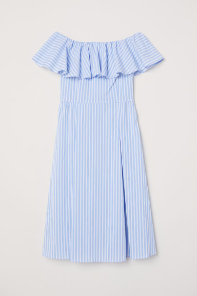 Off-the-shoulder dress - Light blue/White striped - Ladies | H&M GB