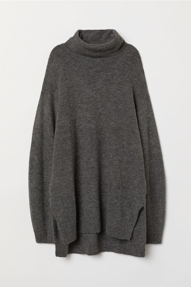 4c7098acbc1a53 Knitted polo-neck jumper - Dark grey marl - Ladies | H&M ...