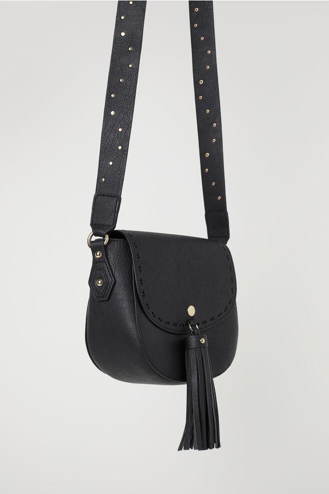 de2a797985 Small Shoulder Bag with Tassel - Black faux leather -