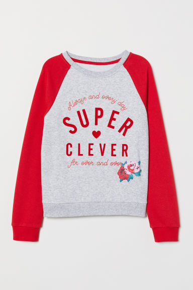 Sweatshirt with a motif - Grey marl/Red - Kids | H&M