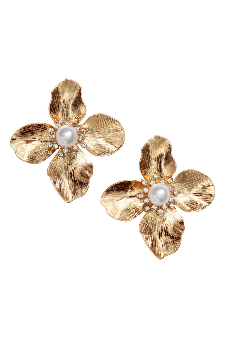 Flower-shaped earrings - Gold-coloured - Ladies | H&M GB