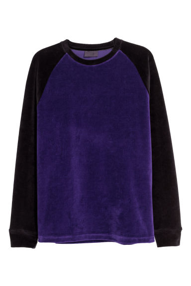 Velour baseball top - Dark purple/Block-coloured - Men | H&M