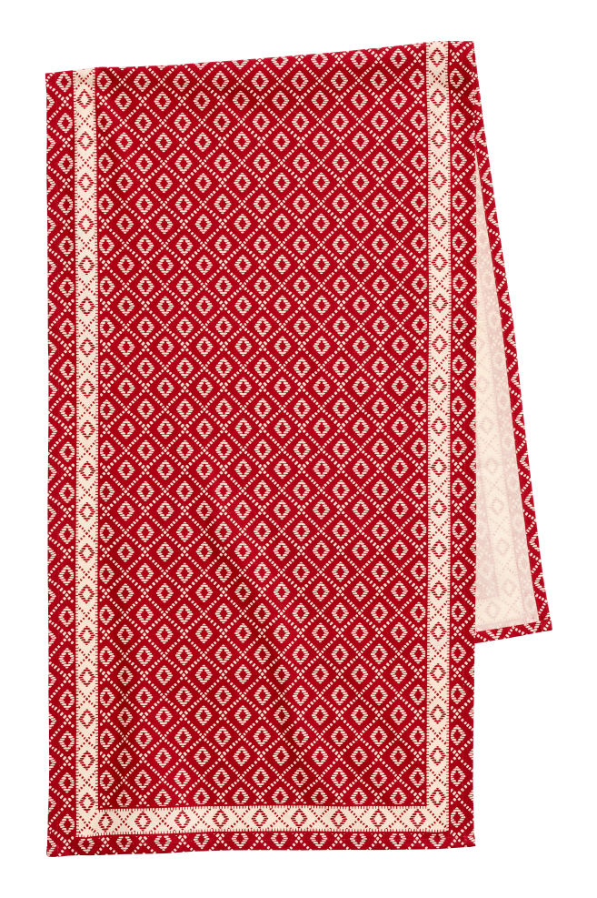 Cotton Table Runner Redwhite Patterned Home All Hm Gb