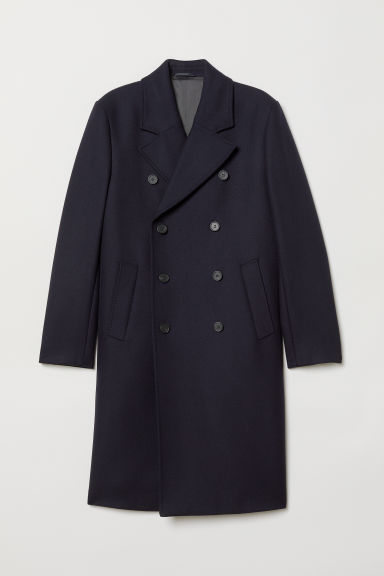 Double-breasted wool-mix coat - Dark blue - Men | H&M CN