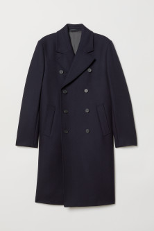 Double-breasted wool-mix coatModel