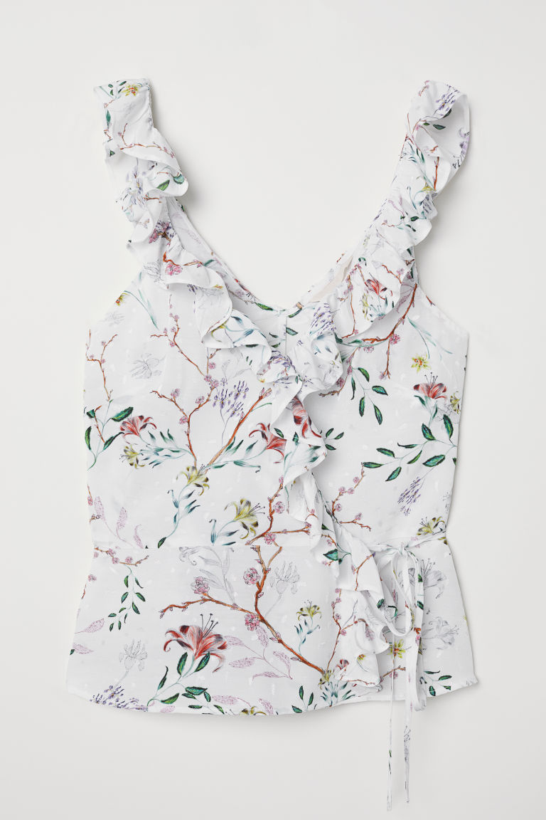Wrapover top with flounces - White/Floral - Ladies | H&M