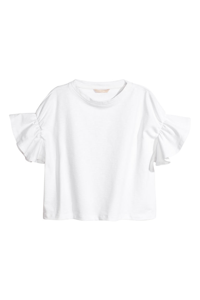 Top with flounced sleeves - White -  | H&M CN