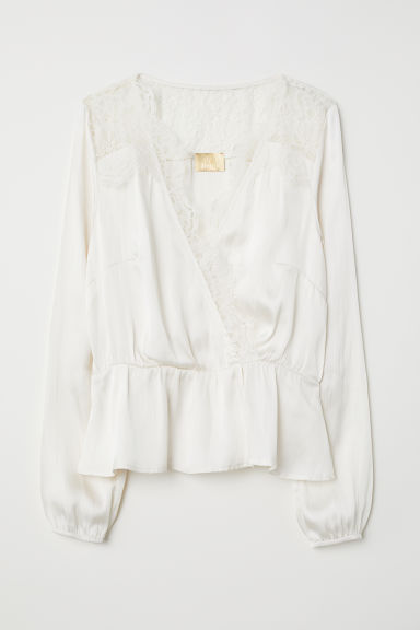 Camicetta satin con scollo a V - Bianco naturale - DONNA | H&M IT