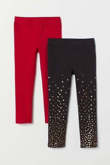 2er-Pack Leggings - Rot/Schwarz - Kids | H&M AT