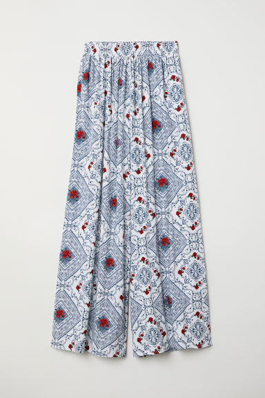Wide trousers - White/Blue patterned - Ladies | H&M
