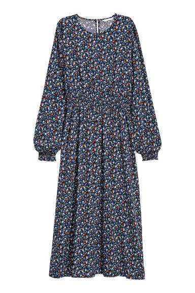 Long-sleeved dress - Dark blue/Floral -  | H&M