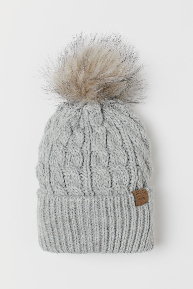Knitted pompom hat - Light grey -  | H&M IE