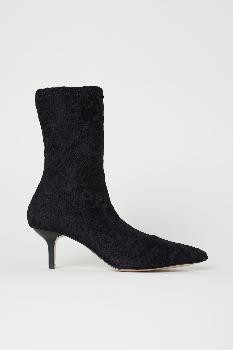 Lace sock-style court shoes - Black - Ladies | H&M