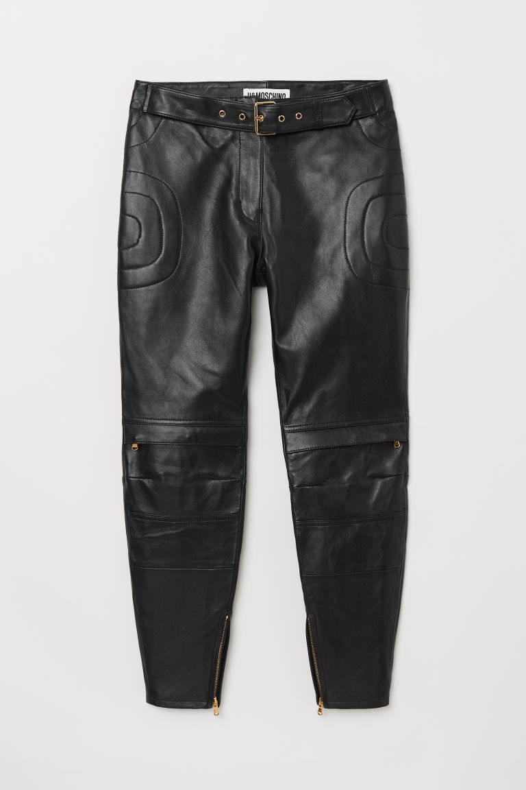 Ankle-length leather trousers - Black - Ladies | H&M