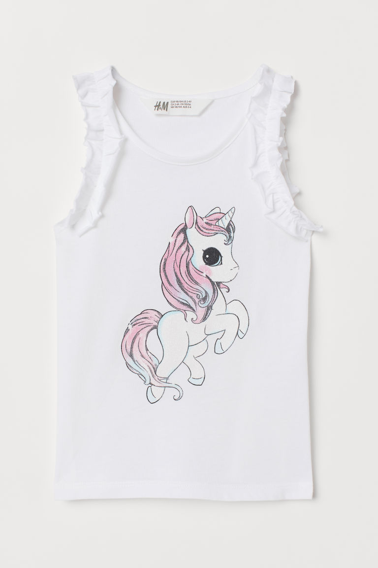 Printed jersey top - White/Unicorn - Kids | H&M