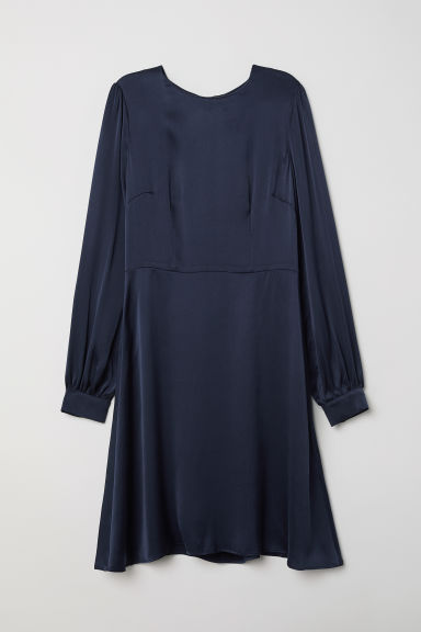 Silk dress - Dark blue - Ladies | H&M CN
