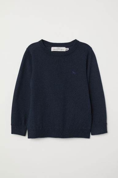 Pullover fine in lana merinos - Blu scuro - BAMBINO | H&M IT