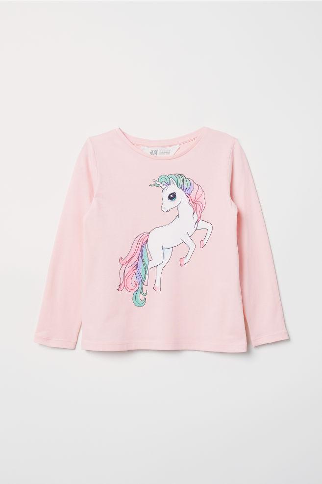 562491f18 Printed jersey top - Light pink/Unicorn - Kids | H&M ...