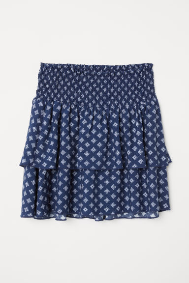 Tiered skirt with smocking - Dark blue/Patterned - Ladies | H&M CN
