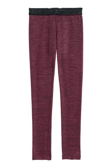 Fine-knit leggings - Dark red marl -  | H&M GB