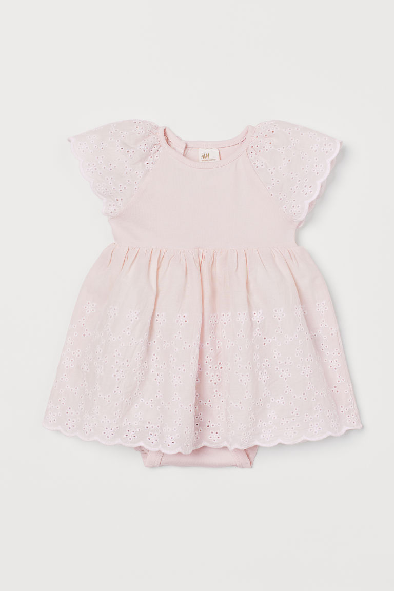 Dress with broderie anglaise - Light pink - Kids | H&M
