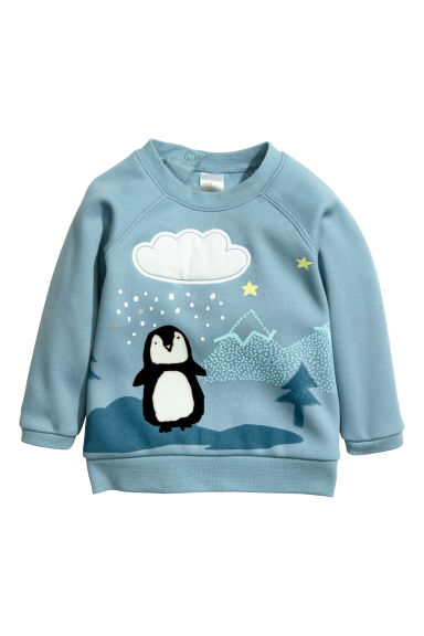 Printed sweatshirt - Light blue/Penguin -  | H&M CN
