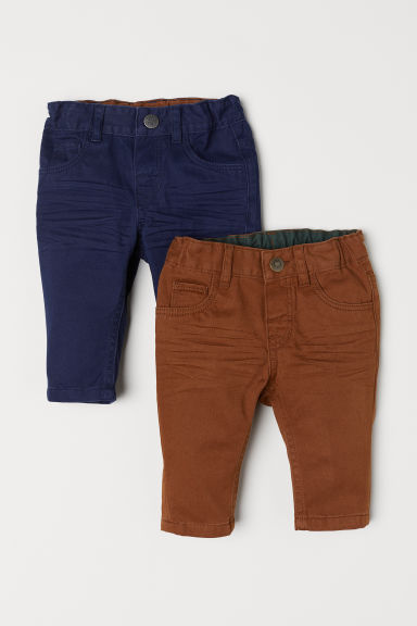 Pantaloni in twill, 2 pz - Blu scuro/cammello - BAMBINO | H&M IT