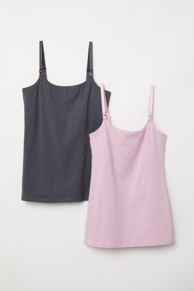MAMA 2-pack nursing tops - Light pink/Anthracite grey - Ladies | H&M GB
