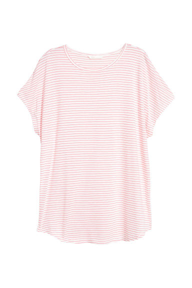 Top with cap sleeves - White/Pink striped -  | H&M CN