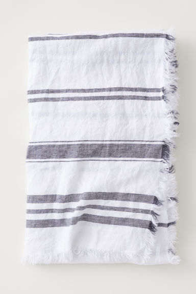 Linen Bedspread - White/gray striped - Home All | H&M US
